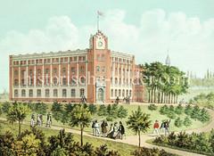 Seemannshaus bei der Seewartenstraße in Hamburg St. Pauli, eröffnet 1863  - Unterkunft und Krankenhaus für Matrosen, Steuerleute und Kapitäne.
