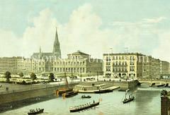 Blick über die kleine Alster zur Börse und der Nikolaikirche - auf dem Platz wird das Hamburger Rathaus gebaut werden (ca. 1863)