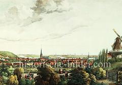 Historisches Panorama von Harburg an der Elbe, ca. 1840 - im Hintergrund die Kirchtürme der Hansestadt Hamburg.