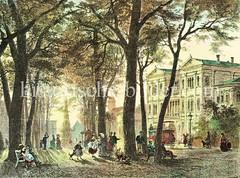 Blick von der Palmaille in Altona zum Altoner Bahnhof - im Hintergrund re. die Christianskirche (ca. 1875)
