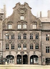 Wohnhaus / Geschäftshaus - barocke Hausfassade im Schopenstehl, Hamburger Altstadt ca. 1925.