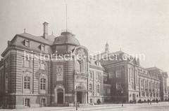 Laeiszhalle am Hamburger Holstenplatz, eröffnet 1908 - Architekten Martin Haller und Emil Meerwein; 1934 wurde der Holstenplatz in Karl-Muck-Platz umbenannt, 1997 in Johannes-Brahms-Platz.