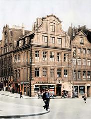 Barocke Architektur in der Altstadt Hamburgs - Wohnhäuser / Geschäftshäuser am Alten Fischmarkt, Schopenstehl, ca. 1925.