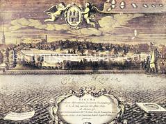 Blick über die Alster zur Reesendammbrücke; re. der Jungfernstieg - im Hintergrund die Bleichen und Kirchtürme / Windmühlen der Stadt (ca. 1665).