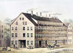 Alte Ansicht vom Opernhaus beim Gänsemarkt in der Hamburger Neustadt, abgerissen 1873.