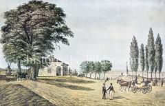 Hamburger Stadtbefestigung um 1821 Ende des Glockengießerwalls - Bastion Vincent mit Bürger-Artillerie Wache - re. das Büschdenkmal