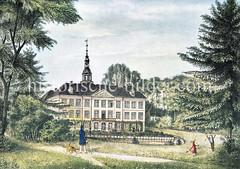 Schimmelmannsche Schloss in Wandsbek - Heinrich Carl von Schimmelmann (*  1724 in Demmin; †  1782 in Kopenhagen) war ein deutsch-dänischer Kaufmann und Sklavenhändler und -halter, der zu seiner Zeit einer der reichsten Männer Europas wurde.