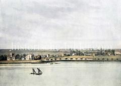 Alsterufer bei Hamburg Hohenfelde / Uhlenhorst ca. 1850 - Blick auf die Schöne Aussicht / Schwanenwiek.