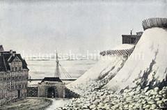 Winter in Hamburg am Stintfang 1813/14; Bastion Albertus mit Pallisaden und Wachposten zum Schutz des Hafens - Eingang zur Paterne, unterirdisches Schlupftor für die Soldaten.