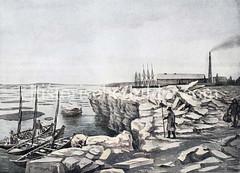 Eisgang in Hamburg - Hochwasser hat die Eisschollen auf dem Hamburger Grasbrook hoch zusammengepresst.