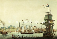 Blick von der Elbe auf den Hamburger Jonashafen - der Kirchturm vom Michel überragt die Schiffsmasten, ca. 1850.