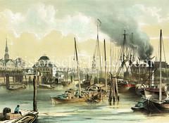 Schiffe im Hamburger Niederhafen / Jonashafen - Blick zum Baumhaus und den Binnenhafen.
