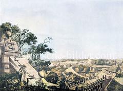 Blick vom Millerntor nach Altona - hinter den äußeren Wachgebäuden die Altonaer Kirche (ca. 1789)