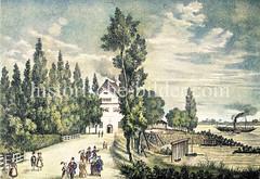 Fähre beim Zollenspieker über die Elbe nach Hoop - erbaut 1504 als Zollstation, 38 Fährleute waren angestellt - Transport von z.B 19 000 Ochsen jährlich über den Fluß.