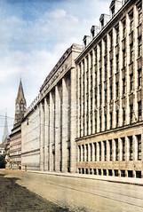 Blick in die Steinstraße der Hamburger Altstadt ca. 1925 - Gebäude der Karstadt Verwaltung, errichetet 1921.