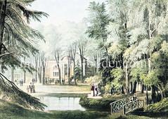 Historische Ansicht vom Heusshof, Gaststätte in Eimsbüttler Holz - eröffnet 1771; später wurde das Terrain zum Bau der Wiesenstraße umgenutzt.