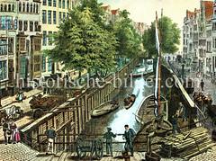 Blick auf das Rödingsmarkt-Fleet in der Hamburger Altstadt, ca. 1880 - Kähne liegen an der Holzwand, am Ufer Pferdefuhrwerke und Handkarren.