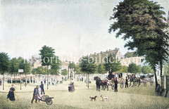Historische Ansicht vom Adolphsplatz in der Hamburger Altstadt, ca. 1825 - der freie Platz entstand durch den Abriss der Klosterkirche des Maria-Magdalena Klosters, die 1807  abgebrochen wurde; in der Bildmitte  ein Denkmal des Grafen Adolph IV.