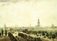 Blick über die Reeperbahn zum Millerntor und das Panaorma der Hamburger Neustadt und die Befestigungsanlagen; ehem. Bastionen Henricus / Casparus, ca. 1827.