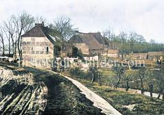 Schramm`s Gastwirtschaft auf der Peute - Schenke mit Landwirtschaft auf der Hamburger Veddel; ca. 1890.