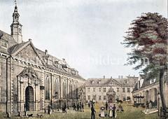 Historische Ansicht vom Zucht- und Spinnhaus in der Hamburger Altstadt beim Alstertor. (ca. 1855)