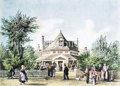 Münch's Trichter in St. Georg beim Besenbinderhof - errichtet um 1815, abgerissen 1859 - Vergnügungsstätte / Wirtshaus, benannt nach dem Inhaber; der Name Trichter  wg. der Dachform.