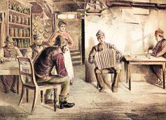 Hamburger Kneipe mit Akkordeonspieler, ca. 1880; Wirtsfrau und Gäste.