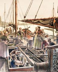 Frische Fische - Fischverkauf am Altonaer Fischmarkt / Fischereihafen - Hausfrauen und Dienstmägde stehen  mit Körben auf dem Kutter.