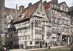 Alte, mehrstöckige Bebauung in der Hamburger Altstadt um 1890 - Wohnhäuser, Geschäftshäuser in der Schmiedestraße.