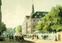 Ansicht vom Waisenhaus / Alten Rathaus in der Admiraltätsstraße in der Hamburger Neustadt; Passanten flanieren, Männer transportieren Fässer auf einem Karren.  (ca. 1860)