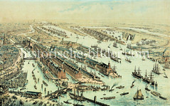 Luftdarstellung des Hamburger Freihafengebiets und der Speicherstadt, ca. 1888.