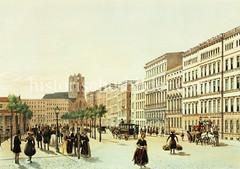 Blick in den Hamburger Jungfernstieg, ca. 1855 - in der Bildmitte das Hôtel de Russie, re. Streit's Hotel; im Hintergrund die Turmruine der St. Petrikirche.