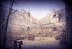 Alter Kalkhof beim Brooktor am Wandbereiter Brook im Bereich der jetzigen Hamburger Hafencity; die Kalkbrennerei entstand 1358 und wurde 1616 zum Dammtor verlegt.