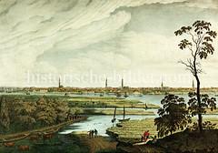 Blick von der Veddel über die Elbe nach Hamburg, ca. 1840; Kühe weiden am Ufer des Flusses - Panorama der Hansestadt mit Kirchtürmen.