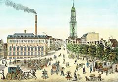 Geschäftiges Treiben auf dem Schaarmarkt in der Hamburger Neustadt - lks. die neue Wasch- und Badeanstalt, im Hintergrund die St. Michaeliskirche, ca. 1882.