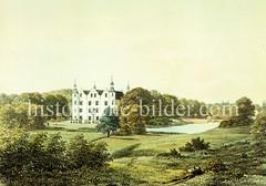 Ahrensburger Schloss, ca. 1855; das kleine Wasserschloss ist ein Herrenhaus und war bis 1932  Sommersitz der Familie Schimmelmann