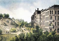 Blick in den Glockergießerwall in der Hamburger Altstadt; lks. die Alsterhöhe der ehem. Bastion Vincent, die abgetragen wurde und Bauplatz der Hamburger Kunsthalle wurde.