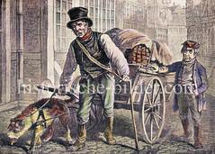Hamburger Orginal - Torfverkäufer mit Hundegespann und Ladung im Gängeviertel der Altstadt. Torf wurde als Heizmaterial in den Wohnungen verwendet, später Steinkohle.