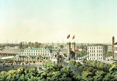 Altes Bild vom Empfangsgebäude des  Berliner Bahnhofs am Deichtorplatz zwischen der Hamburger  Banksstraße und Amsinckstraße - Blick von der Altmannshöhe, ca. 1856,