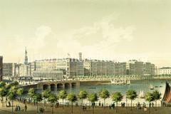 Blick über den Alsterdamm / Binnenalster zu den Alsterarkaden und dem Jungfernstieg in der Hamburger Neustadt, ca. 1853.