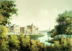 Wohnhäuser am Alsterglacis in Hamburg Rotherbaum - im Hintergrund die Alster und Kirchturm von St. Georg. (ca. 1860)