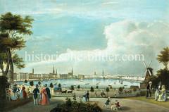 Blick auf die Binnenalster und das Hamburger Panorama vom Bereich Glockengießerwall, ca. 1840.