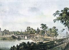 Historische Ansicht vom Brooktor am Großen / Kleinen Grasbrook in Hamburg (ca. 1600).