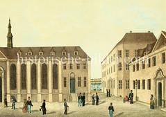 Historische Ansicht vom Zucht- und Spinnhaus in der Hamburger Altstadt beim Alstertor, ca. 1840 - im Hintergrund die Binnenalster.