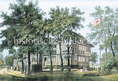 Altes Wirtshaus Bullenhusener Schleuse, erbaut 1587; die Schleuse der Bille in Hamburg Rothenburgsort wurde um 1800 durch die Grüne Brücke ersetzt.