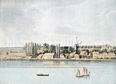 Alsterufer bei Hamburg Hohenfelde / Uhlenhorst ca. 1850 - Blick auf das Sechslingstor und die Straße An der Alster.