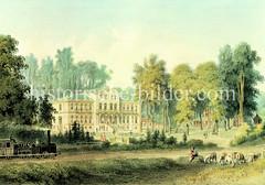 Historische Ansicht vom Sophien-Bad in Reinbek. Das Sophienbad, Diätische Pflege-und Wasser-Heilanstalt wurde  1858 eröffnet.