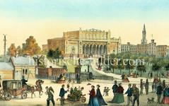 Blick vom Ferdinandstor auf die Hamburger Kunsthalle; eine Eisenbahn fährt Richtung Lombardsbrücke, ca. 1869.
