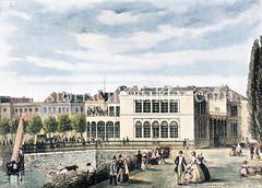 Lokal Wallhalle an der Hamburger Binnenalster, Ecke Neuer Jungfernstieg, ca. 1850; Pferde werden zur Tränke geführt - Hamburger BürgerInnen flannieren am Alsterufer.