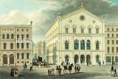 Historische Ansicht vom Thalia Theater auf dem Pferdemarkt in der Hamburger Altstadt, ca. 1845.